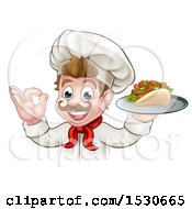 Caucasian Male Chef Holding A Kebab Sandwich On A Tray And Gesturing Okay