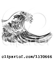 Clipart Of A Black And White Vintage Styled Japanese Great Wave Royalty Free Vector Illustration