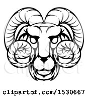 Clipart Of A Black And White Lineart Aries Ram Astrology Zodiac Horoscope Royalty Free Vector Illustration