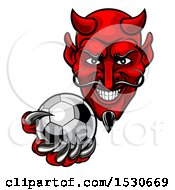 Clipart Of A Grinning Evil Red Devil Holding Out A Soccer Ball In A Clawed Hand Royalty Free Vector Illustration