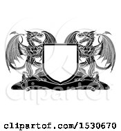 Clipart Of A Black And White Shield With Dragons Royalty Free Vector Illustration by AtStockIllustration