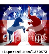 Clipart Of A Silhouetted Rearing Political Democratic Donkey And Republican Elephant Over An American Design And Burst Royalty Free Vector Illustration
