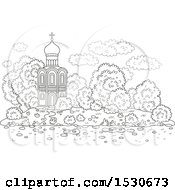 Clipart Of A Black And White Picturesque Church With Mature Landscaping Royalty Free Vector Illustration