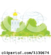 Clipart Of A Picturesque White Church With Mature Landscaping Royalty Free Vector Illustration