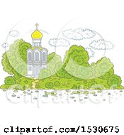 Clipart Of A Picturesque White Church Royalty Free Vector Illustration