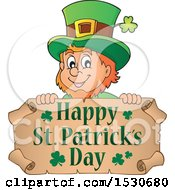 Clipart Of A Happy St Patricks Day Greeting Undder A Leprechaun Royalty Free Vector Illustration by visekart