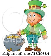 Clipart Of A St Patricks Day Leprechaun With A Pot Of Gold Royalty Free Vector Illustration by visekart