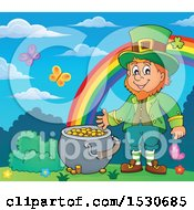 St Patricks Day Leprechaun With A Pot Of Gold At The End Of A Rainbow