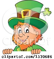 Clipart Of A St Patricks Day Leprechaun Over A Sign Royalty Free Vector Illustration