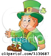 Clipart Of A St Patricks Day Leprechaun Sitting Royalty Free Vector Illustration