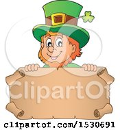 Clipart Of A St Patricks Day Leprechaun Over A Parchment Scroll Royalty Free Vector Illustration