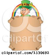Clipart Of A St Patricks Day Leprechaun And Rainbow Over A Parchment Scroll Royalty Free Vector Illustration