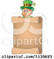 Clipart Of A St Patricks Day Leprechaun Over A Scroll Royalty Free Vector Illustration