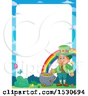 Clipart Of A Border Of A St Patricks Day Leprechaun With A Pot Of Gold At The End Of A Rainbow Royalty Free Vector Illustration