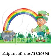 Clipart Of A St Patricks Day Leprechaun With A Pot Of Gold At The End Of A Rainbow Royalty Free Vector Illustration