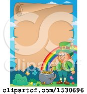 Clipart Of A Scroll Border Of A St Patricks Day Leprechaun Royalty Free Vector Illustration