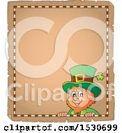 Clipart Of A Parchment Border Of A St Patricks Day Leprechaun Royalty Free Vector Illustration