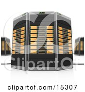 Orange Towers Of Server Racks Clipart Illustration Image