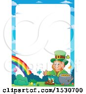 Border Of A St Patricks Day Leprechaun With A Pot Of Gold At The End Of A Rainbow