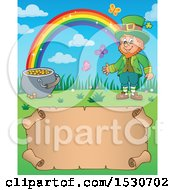 Clipart Of A St Patricks Day Leprechaun Rainbow And Pot Of Gold Over A Parchment Scroll Royalty Free Vector Illustration
