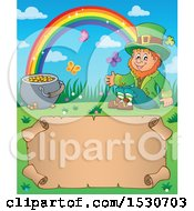 Clipart Of A St Patricks Day Leprechaun Rainbow And Pot Of Gold Over A Parchment Scroll Royalty Free Vector Illustration by visekart