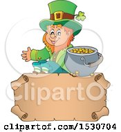 Clipart Of A St Patricks Day Leprechaun And Pot Of Gold Over A Parchment Scroll Royalty Free Vector Illustration