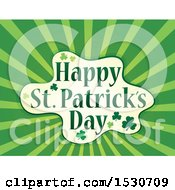 Clipart Of A Happy St Patricks Day Greeting With Shamrocks And Rays Royalty Free Vector Illustration