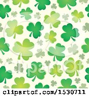 Clipart Of A Seamless Shamrock Clover St Patricks Day Background Pattern Royalty Free Vector Illustration