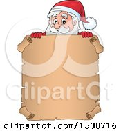 Christmas Santa Claus Over A Parchment Scroll