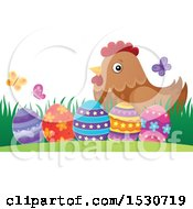 Clipart Of A Mother Hen And Decorated Easter Eggs Royalty Free Vector Illustration