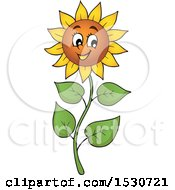 Clipart Of A Happy Sunflower Character Royalty Free Vector Illustration by visekart