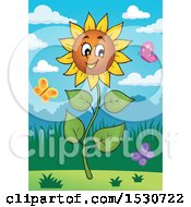 Happy Sunflower Character And Butterflies