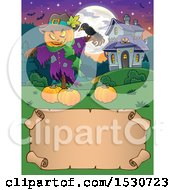 Clipart Of A Scarecrow With A Crow And Halloween Pumpkins Near A Haunted House Over A Scroll Royalty Free Vector Illustration