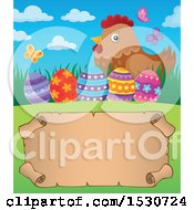 Clipart Of A Parchment Scroll Under A Mother Hen And Decorated Easter Eggs Royalty Free Vector Illustration