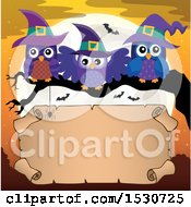 Clipart Of A Trio Of Witch Owls On A Branch Over A Full Moon And Halloween Scroll Royalty Free Vector Illustration