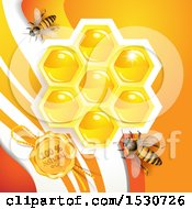 Poster, Art Print Of Natural Wax Seal With Bees And Honeycombs