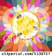 Clipart Of A Flower Center With Bees And Honeycombs Royalty Free Vector Illustration