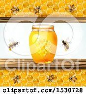 Poster, Art Print Of Honey Jar With Bees And Honeycomb Panels