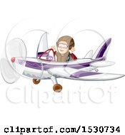 Clipart Of A Happy Boy Flying An Airplane Royalty Free Vector Illustration