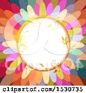 Poster, Art Print Of Colorful Flower Petal Background With A Circular Frame
