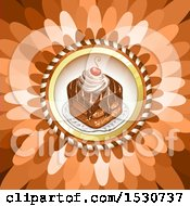 Clipart Of A Flower Petal Background With A Cake Royalty Free Vector Illustration