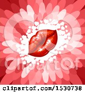 Poster, Art Print Of Red Flower Petal Background With Puckered Lips