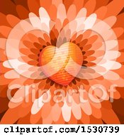 Poster, Art Print Of Flower Petal Background With A Love Heart