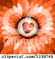 Clipart Of A Flower Petal Background With A Love Heart Royalty Free Vector Illustration
