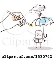 Hand Sketching A Stick Business Man Holding An Umbrella In The Rain