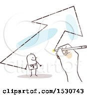 Clipart Of A Hand Sketching A Stick Business Man In An Arrow Royalty Free Vector Illustration