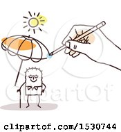 Clipart Of A Hand Sketching An Umbrella To Protect A Senior Stick Man From The Sun Royalty Free Vector Illustration