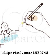 Clipart Of A Hand Sketching A Stick Business Man Climbing Stairs Royalty Free Vector Illustration