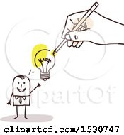Clipart Of A Hand Sketching A Stick Business Man With An Idea Royalty Free Vector Illustration