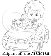 Clipart Of A Black And White Boy Playing And Driving His Teddy Bear Around In A Car Royalty Free Vector Illustration